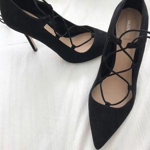 Lace up black aldo heels